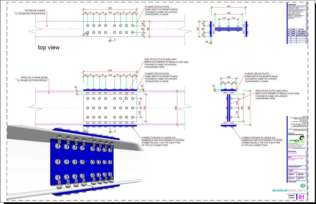 Steel Beam Bolted Plate Splice Connection Detail Drawing In 2020 Steel Beams Detailed Drawings Beams