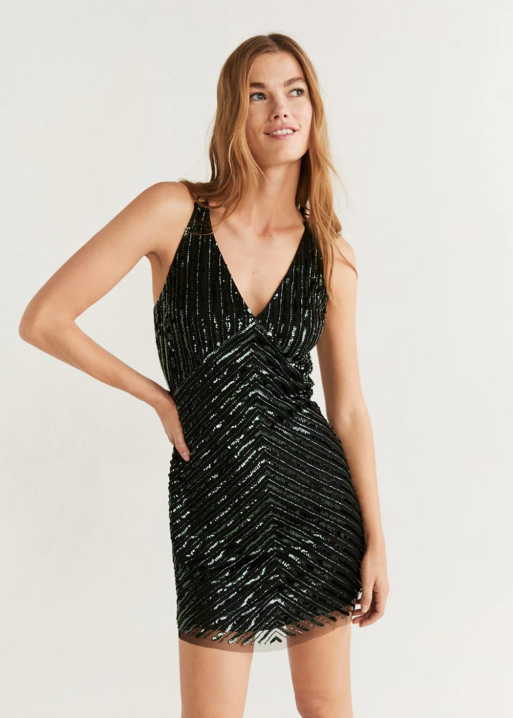 Scoopback sequin dress Women Mango USA New years
