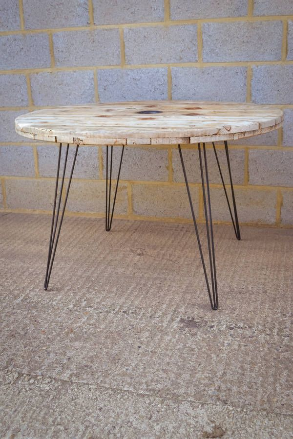 Cable Reel Dining Table With Hairpin Legs By Lelloliving