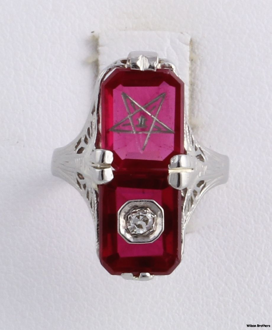 ORDER OF THE EASTERN STAR - 14k White Gold Diamond Syn Red ...