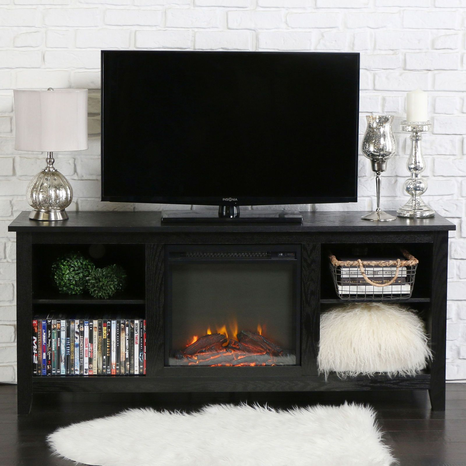 """58"""" Black TV Stand with Fireplace Fireplace tv stand"""