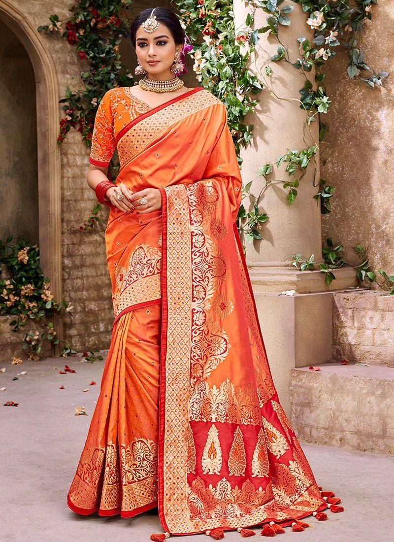 Pure silk saree 2018 orange pure banarsi silk saree in   products  pinterest