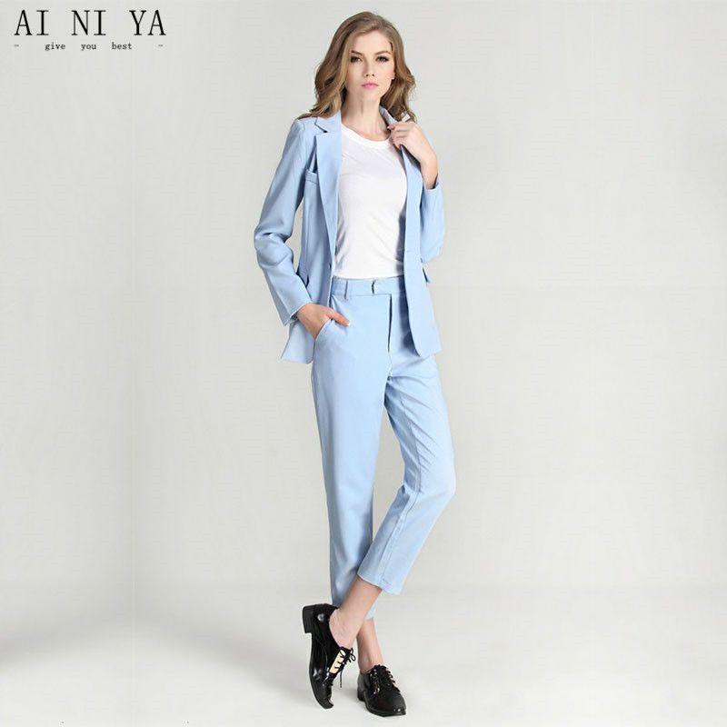cca509734e213 Find More Pant Suits Information about Women Pant Suits Light Sky ...