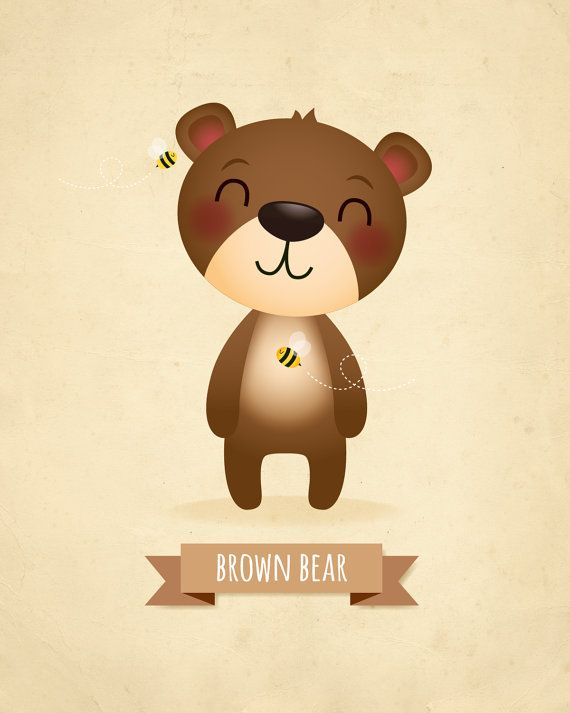Kids art prints - Set of bears, nursery prints, bear nursery, koala ...