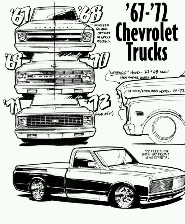 Hoodie Short Bed Chevy GMC Truck Chevrolet C10 1967 1968 1969 1970 1971 1972
