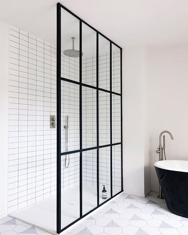 Wow Steel Grid Shower Screen With White Grid Tiles Black And