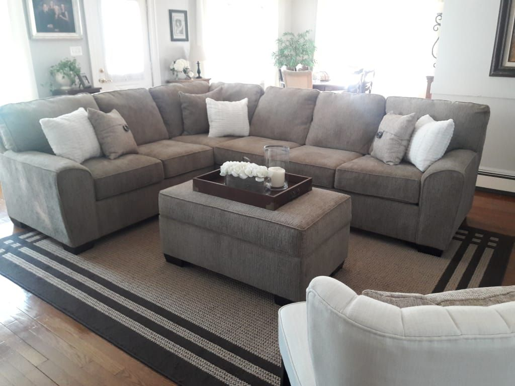 Richmond Tan Living Room Sectional Big Lots Tan Living Room Living Room Sectional Gray Sectional Living Room #signature #design #by #ashley #ellabury #living #room #sectional