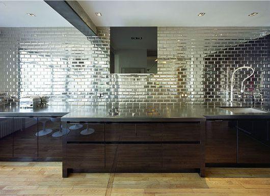 Mirrored Tile Kitchen Wall Splash With Mirror Subway