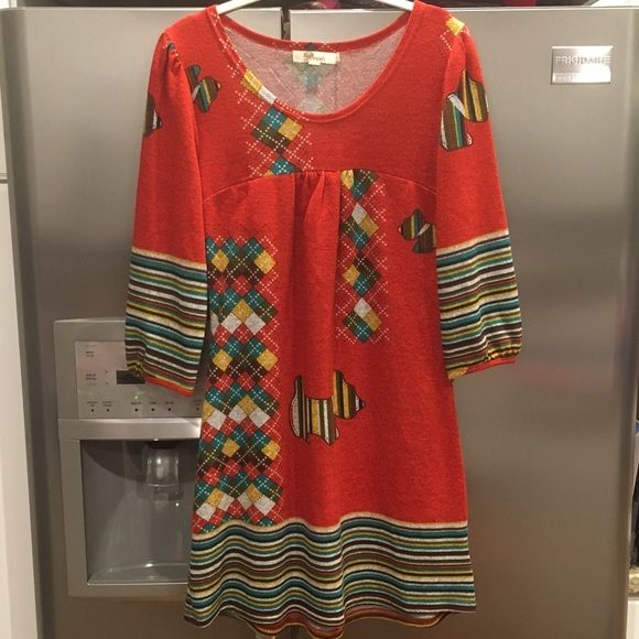 Anthropologie Aryeh Scottie Dog Tunic Dress Size L Worn Only Once Anthropologie Dresses