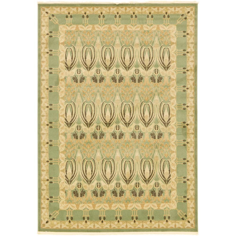 Unique Loom Edinburgh Carnation Light Green 7 0 X 10 0 Area Rug In 2019 Rugs Area Rugs Colorful Rugs