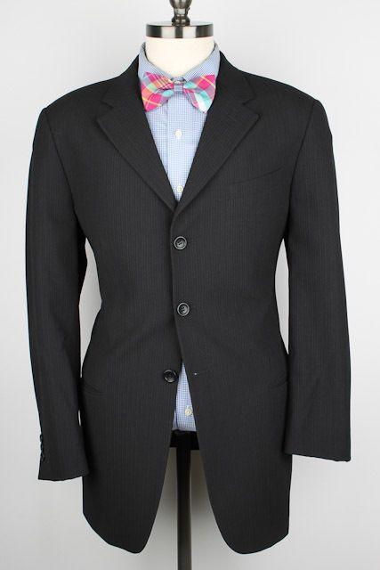 Armani Collezioni Black Modest Striped Wool Blend 40 R mens Sport Coat Blazer #ArmaniCollezioni #ThreeButton