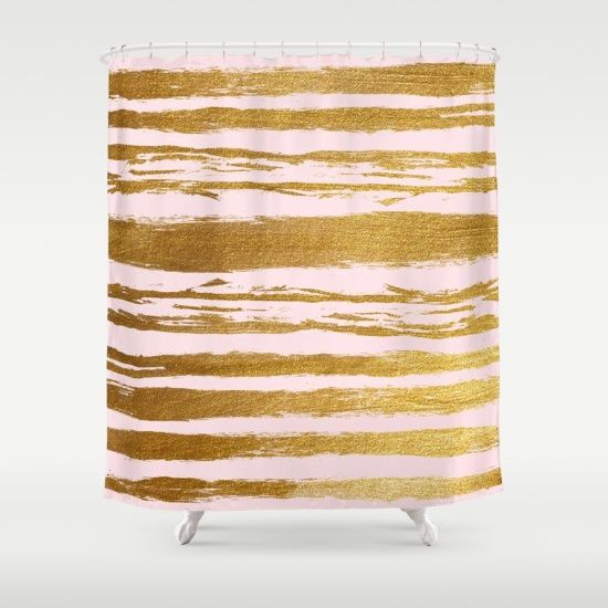 Think Pink Our And Gold Shower Curtain Adds A Pop Of Pattern Color