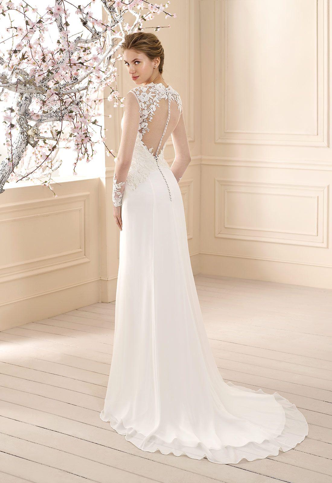 CAMARAT | Cabotine Vestido de novia en chiffón con cuerpo en guipur ...