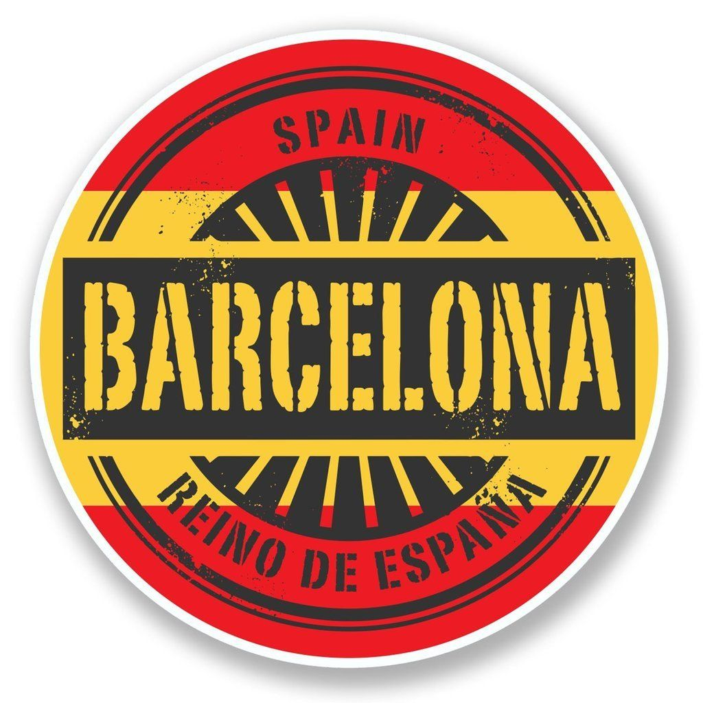 2 x Barcelona Spain Travel Luggage Scrapbook Laptop Decals Stickers