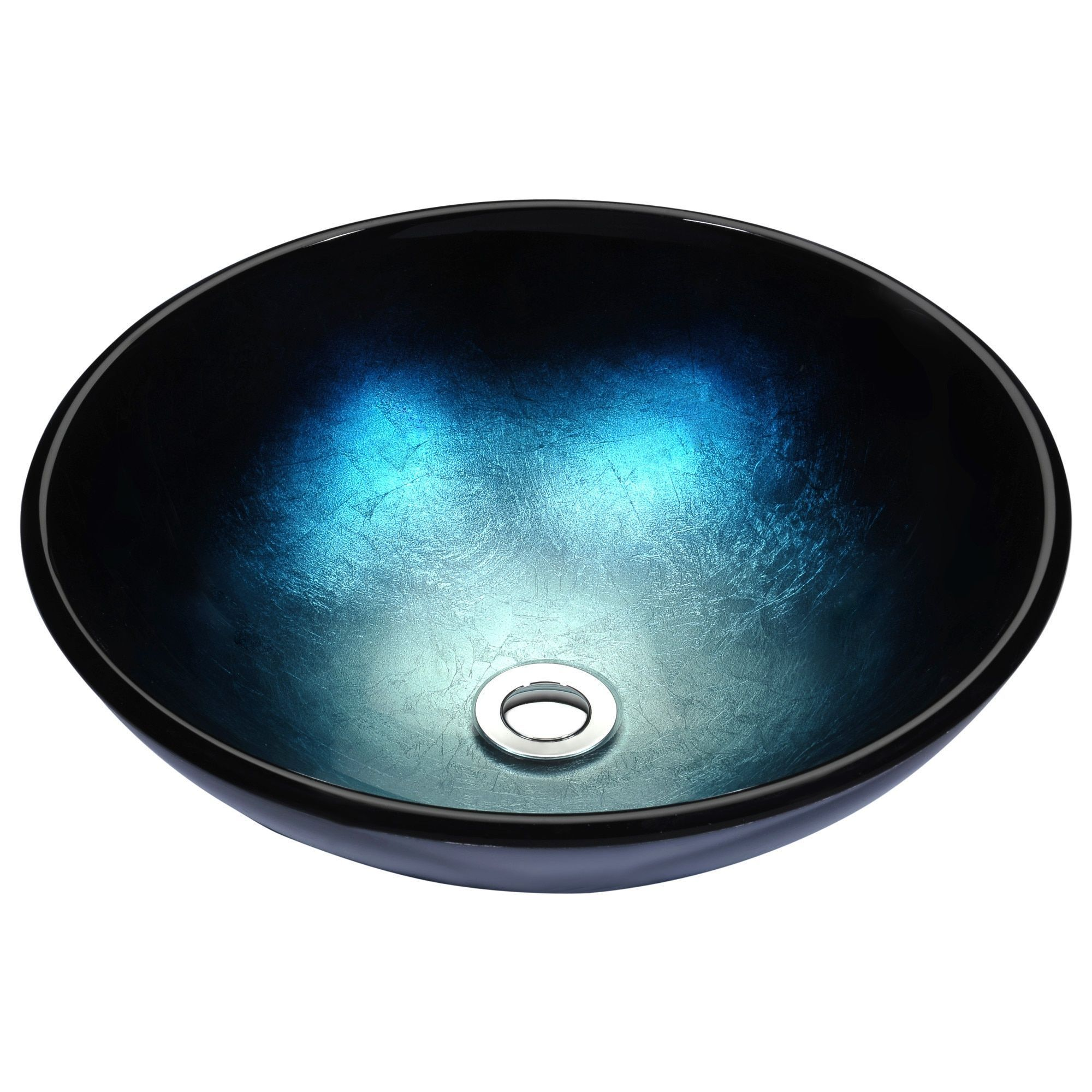 Anzzi Stellar Series Deco-Glass Vessel Sink in Deep Sea (Blue) (Deep ...