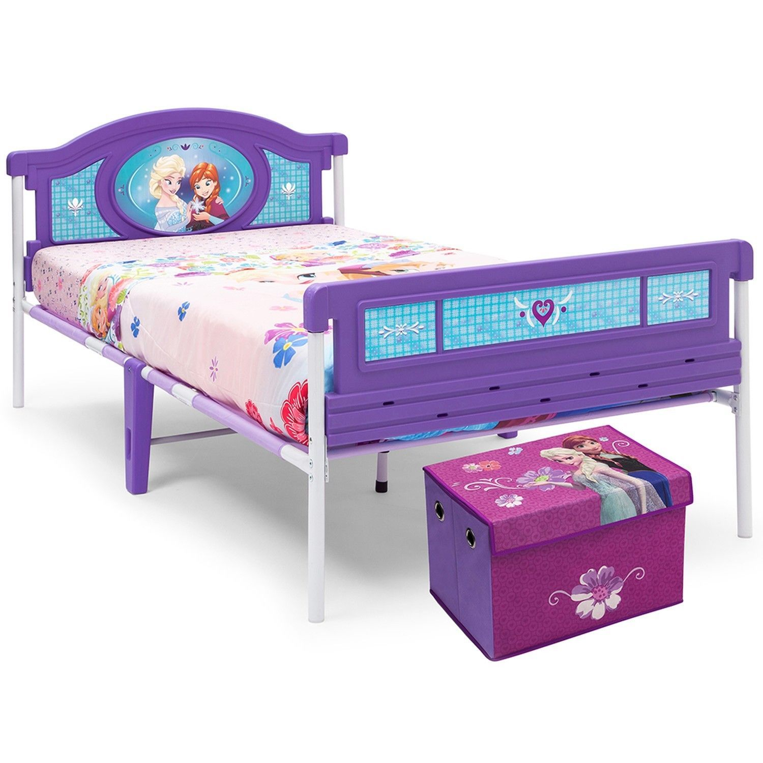 kids disney frozen twin bed with bonus fabric toy box fabric toys