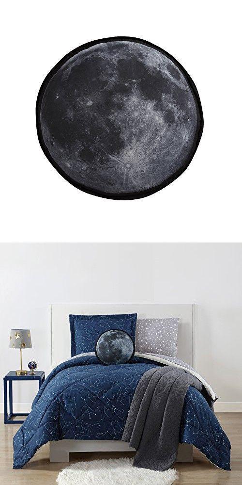 "Laura Hart Kids Printed Decorative, 15"" Round Pillow, Moon"