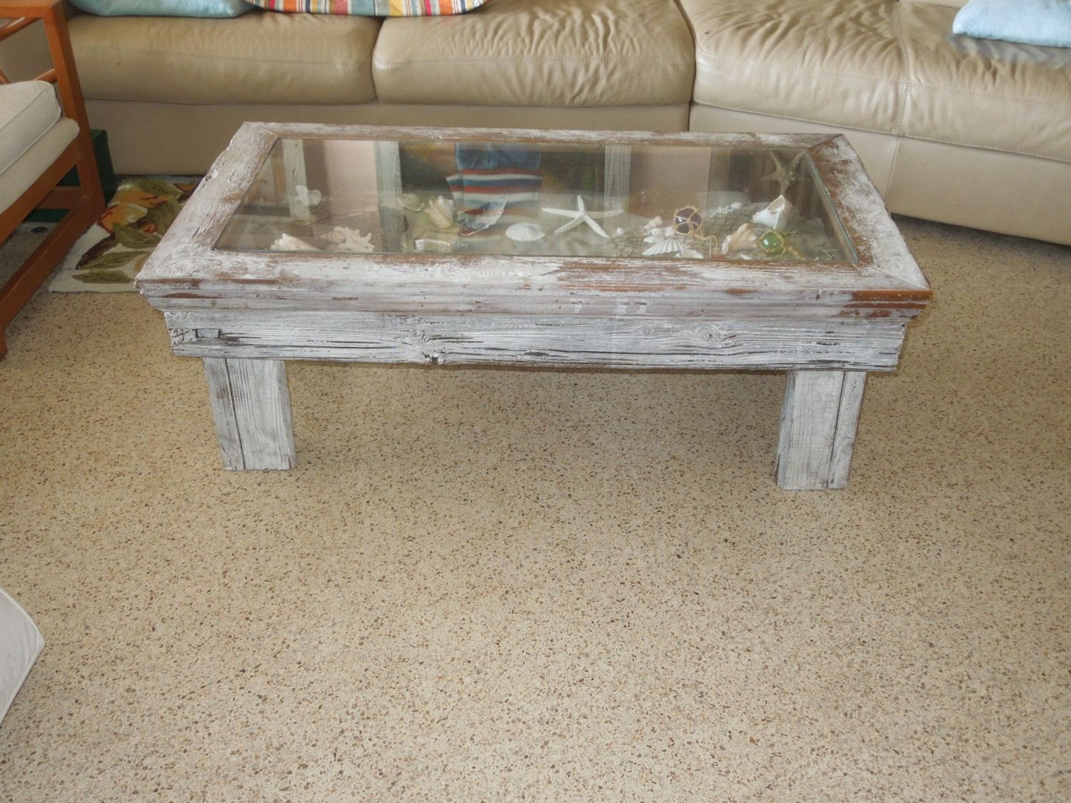 Coastal Coffee Table Shadow Box Style Display Coffee Table - Display coffee table for sale