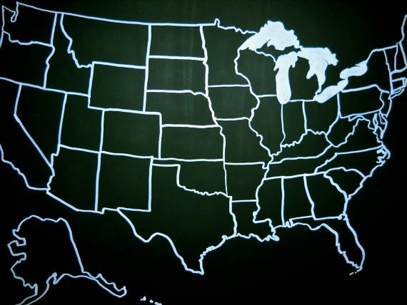 Chalkboard United States Map By Hannahjm On Etsy Http - Us map chalkboard
