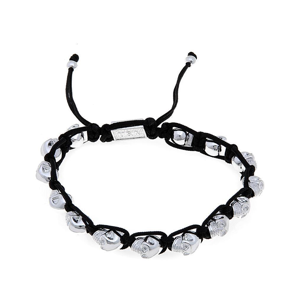 King Baby Jewelry Macrame Silvertone Skulls Bracelet