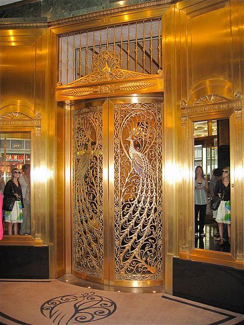 Chicago Elevator Doors With Art Deco Peacock Motif Birds