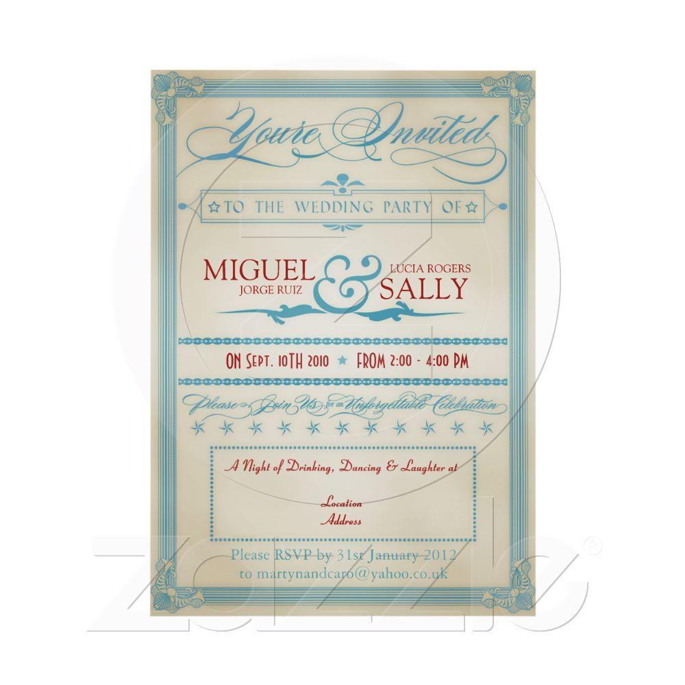 zazzle wedding invitations promo code%0A Vintage Red White  u     Blue Wedding EveningOnly Card