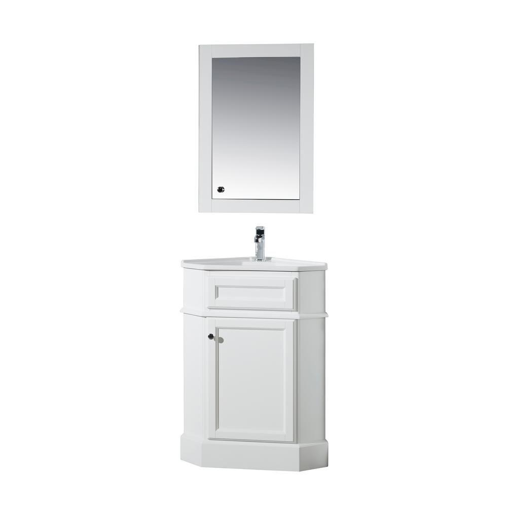 Stufurhome Hampton 27 In W Corner Vanity In White With Porcelain