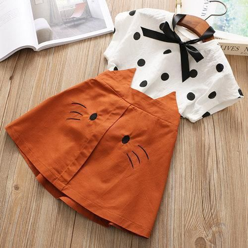 Dot Shirt With Cat Skirt Girl Two Piece Dress