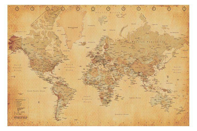 World map vintage antique poster print art 61x915cm vintage maps world map vintage antique poster print art 61x915cm gumiabroncs Image collections