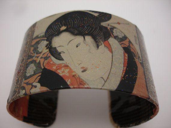 Geisha Decoupage Cuff Bracelet by cuffscouture on Etsy