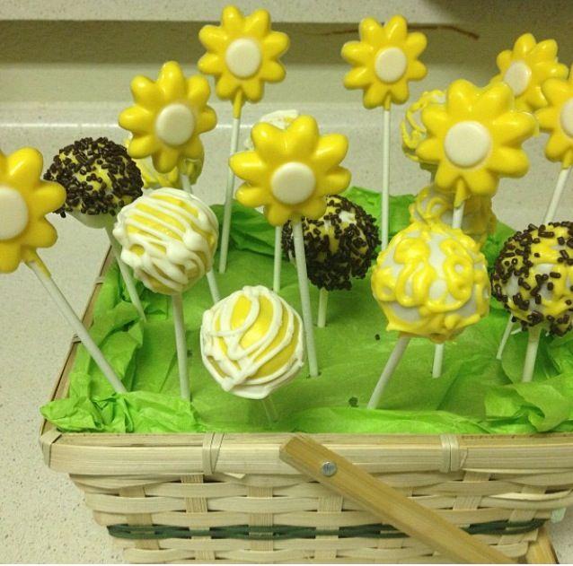 Cake pop and chocolate pop basket