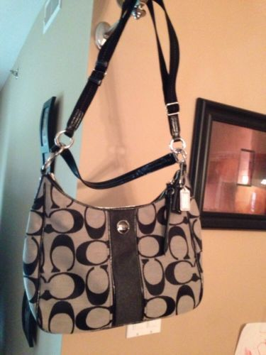 NWT COACH Signature Black Stripe Convertible Hobo Bag Crossbody Purse F21873