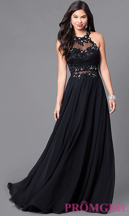 73a6abc50a3 Long Sweetheart Prom Dress with Illusion-Lace Bodice