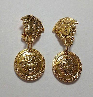 194e72d4d338 GIANNI VERSACE Medusa Head Dangle Earrings Gold Tone Round Charm Clip  Authentic