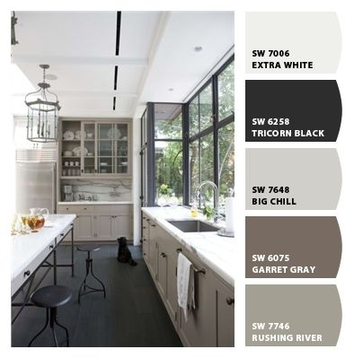 "Chip It! by Sherwin-Williams – ""big chill"", ""garret gray"" & ""rushing river"" seem like great gray/greige paint colors."