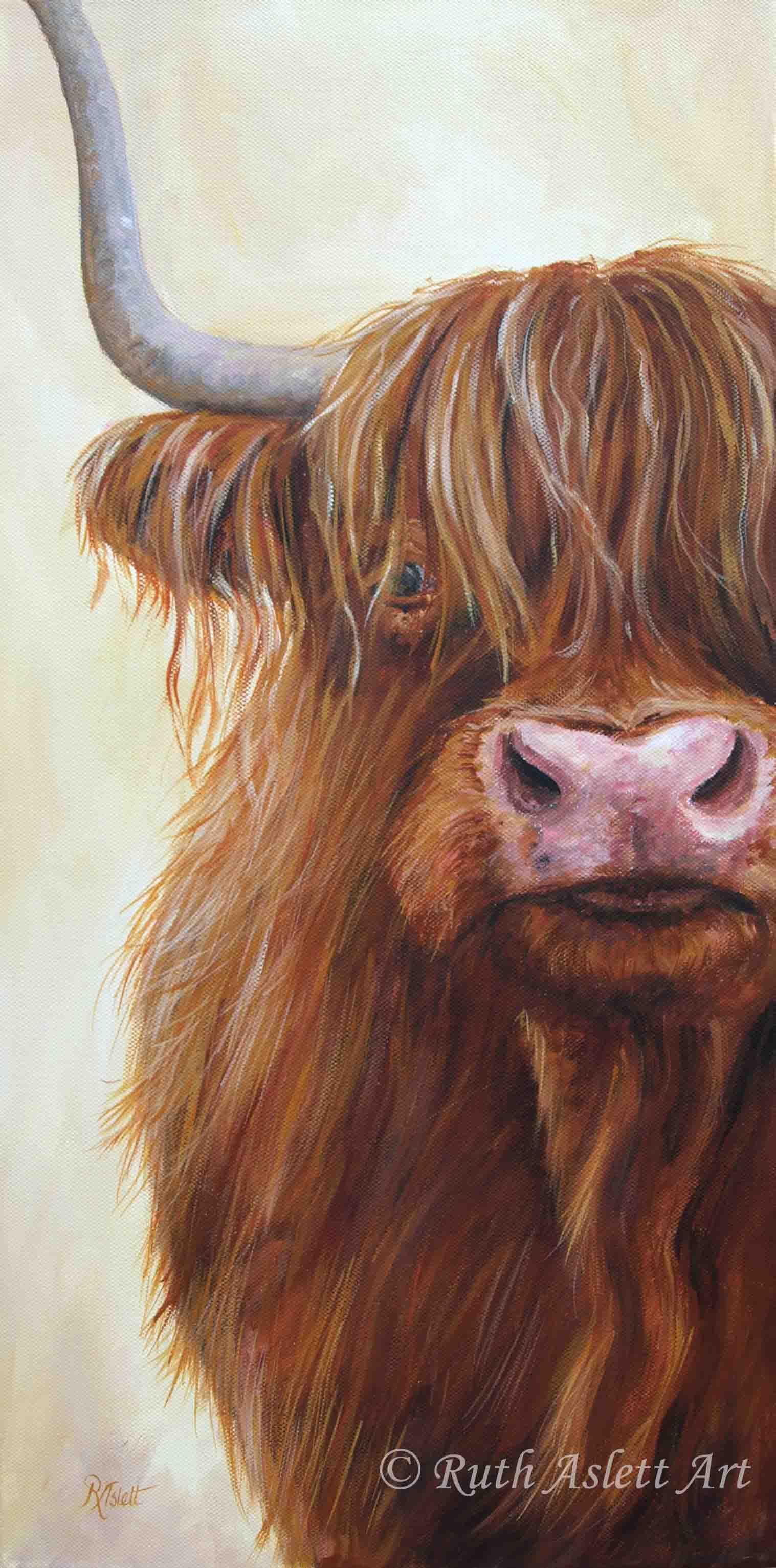 Farm Animals Highland Cow Painting Highland Cow Art Cow Art