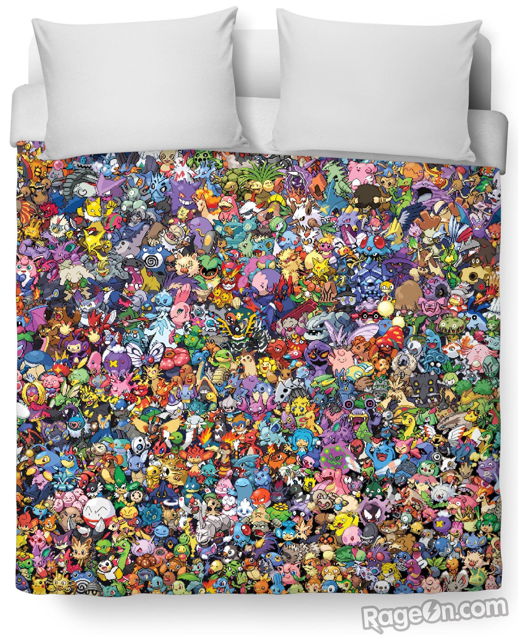 3D Pokemon Pokedoll Pikachu Kids Bedding Set Duvet Cover Pillowcase Quilt Cover
