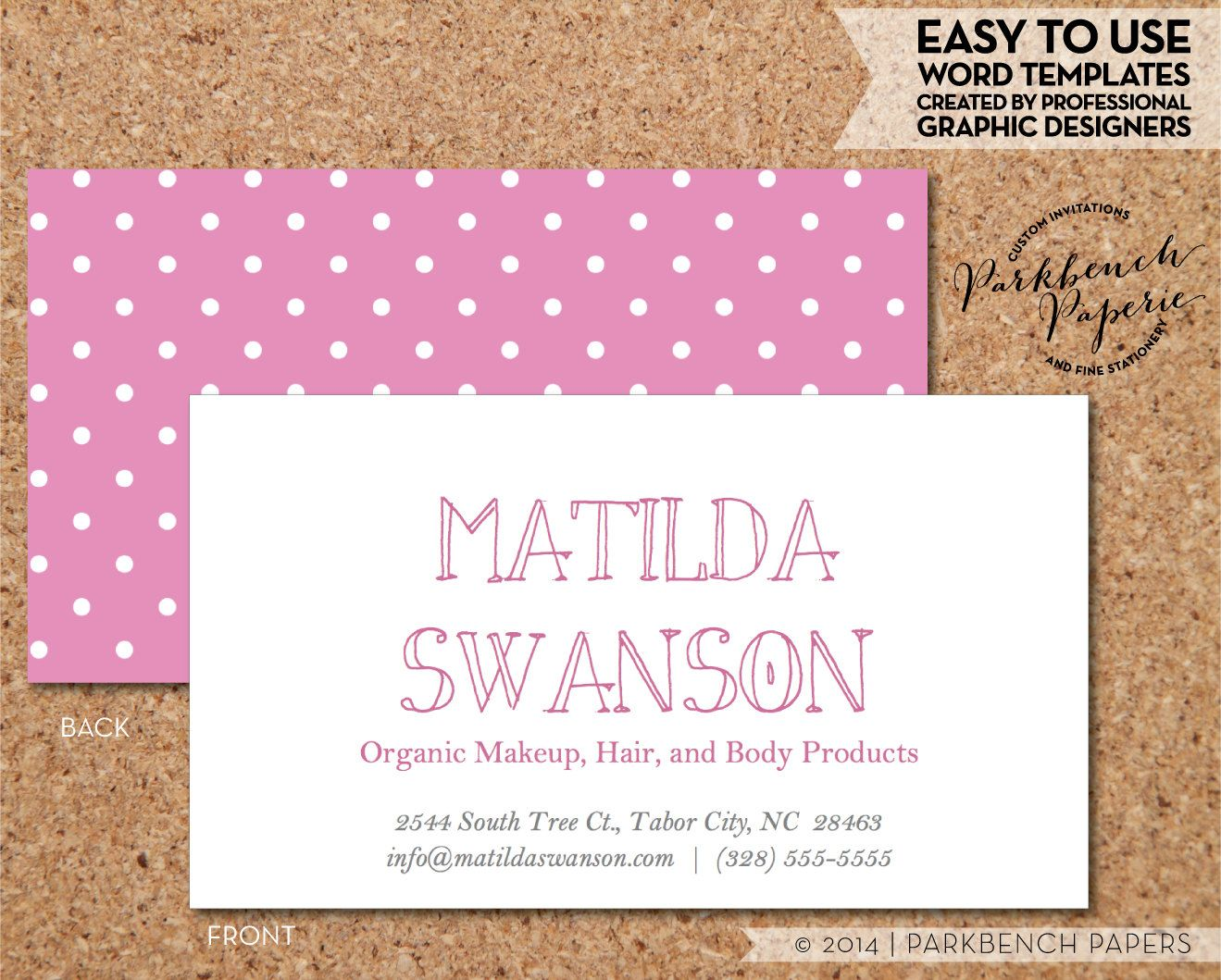 Business card template barbie pink and white dots diy editable business card template barbie pink and white dots diy editable word template instant download wajeb Images