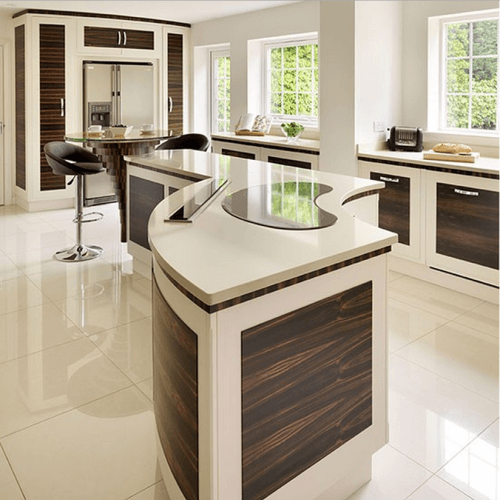 Curved White Modern Kitchen Island With Brown Panel Inserts