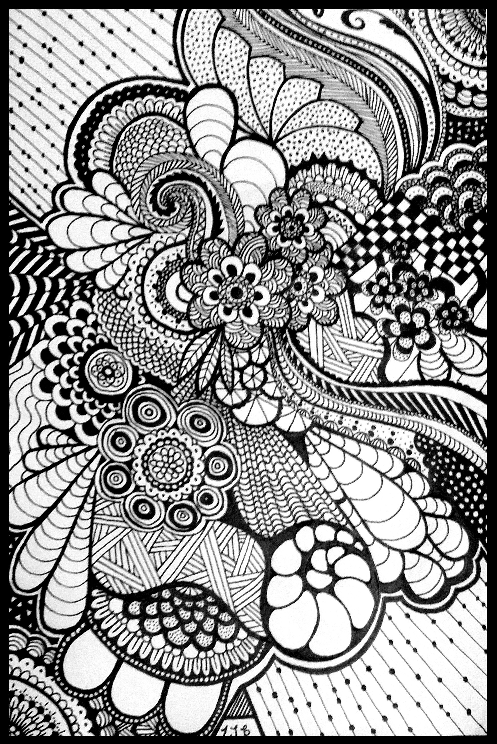 One of the first zentangle or zendoodle art I did. With ...