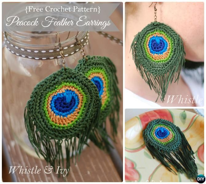 Crochet Peacock Earring Pattern Free-10 Crochet Peacock Projects ...