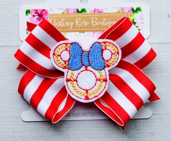 Cruise ship hair bow Disney Cruise Line inspired hair bow hairbow - hair clip - cruise outfit - sail