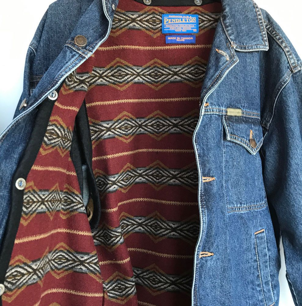 Pendleton M Denim Trucker Chore Jacket Removeable Wool Liner Vtg Pendleton Truckerjacket Vintage Denim Denim Jackets Chore Jacket [ 1000 x 988 Pixel ]