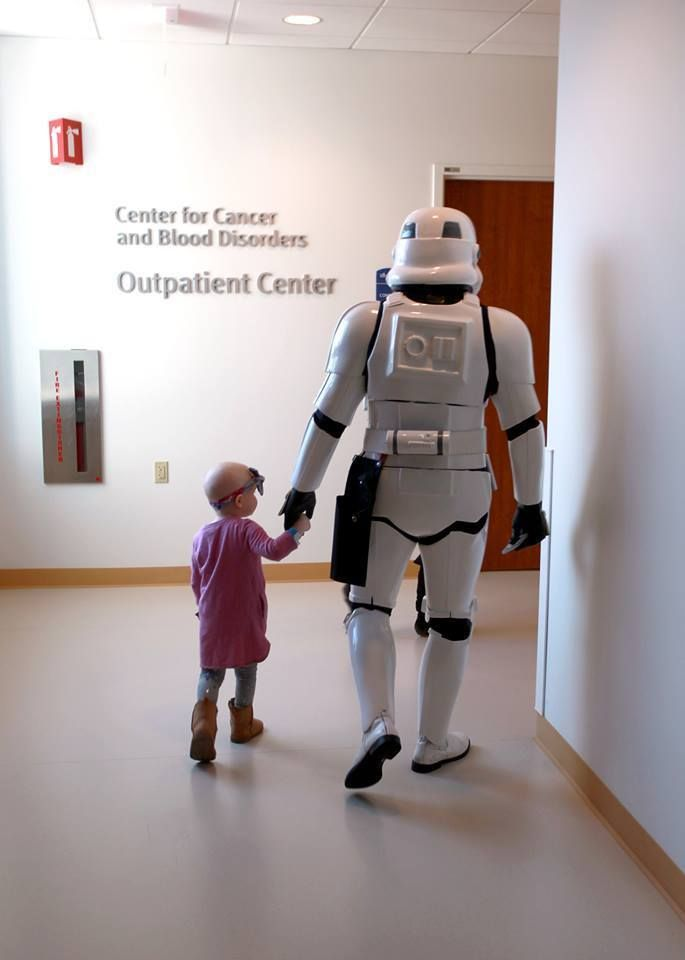 Members of the 501st Midwest Garrison visited the pediatric oncology ward at the Lurie Children's Hospital of Chicago. They handed out toys and coloring books to a lot of brave kids. During their visit in the community center, one little girl had to go back to her room for part of her treatment, and she asked if a stormtrooper could come with her. She took his hand and led him down the hall, and he stayed at her side the whole time she was away.
