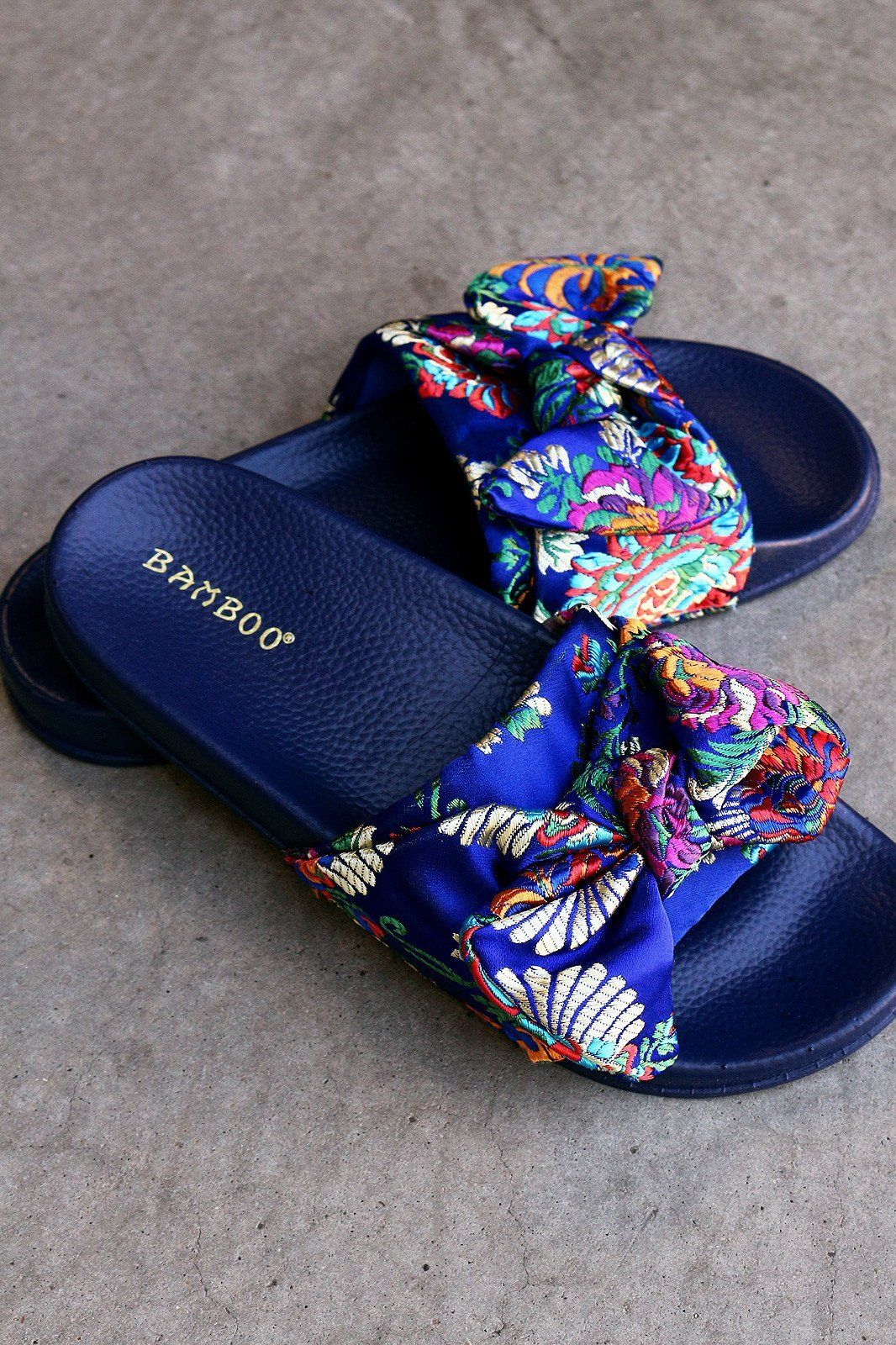 0f4128dbe5 Satin Embroidered Brocade Bow Slide Sandal in 2019 | Fashion sandals ...