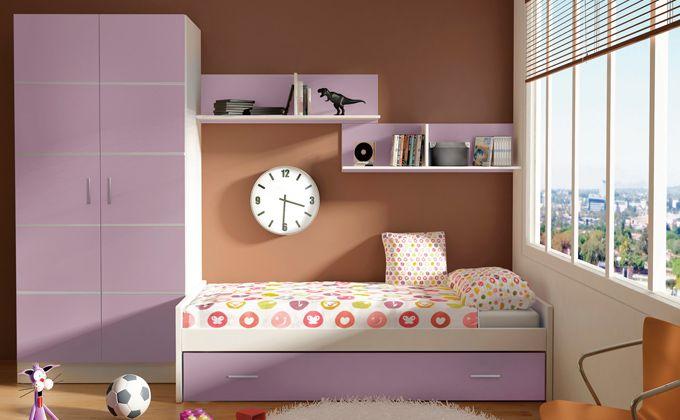 Muebles habitaci n de ni a lila cama nido para dormitorio for Muebles habitacion infantil nina