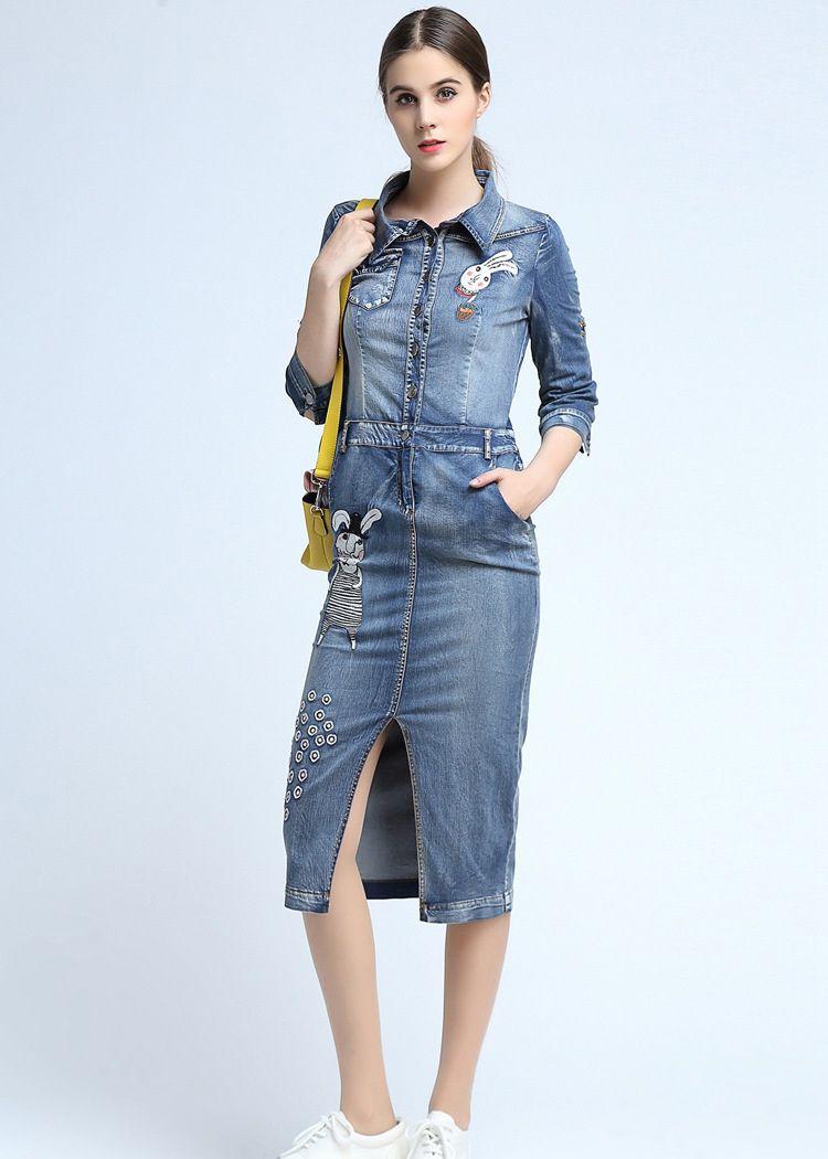Langes Jeanskleid für Damen Etuikleid NQ2403