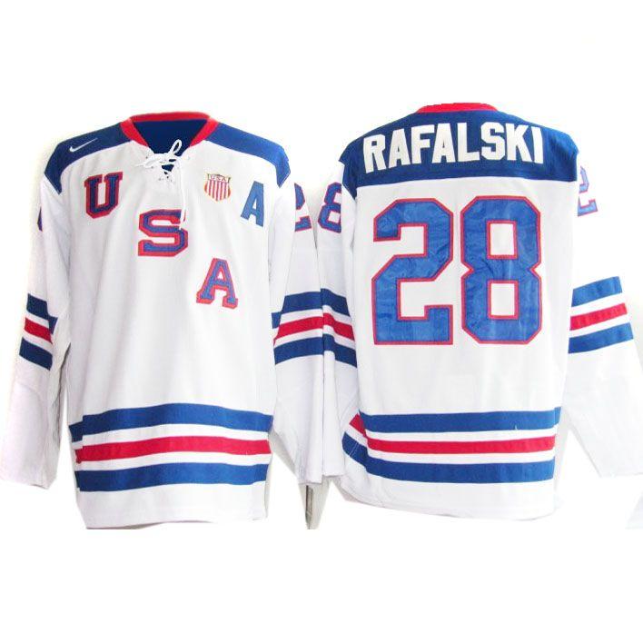 Team Usa 28 Brian Rafalski Nhl 2010 Olympic Jersey In White Id 302708226 35 Jersey Nike Jersey Team Usa
