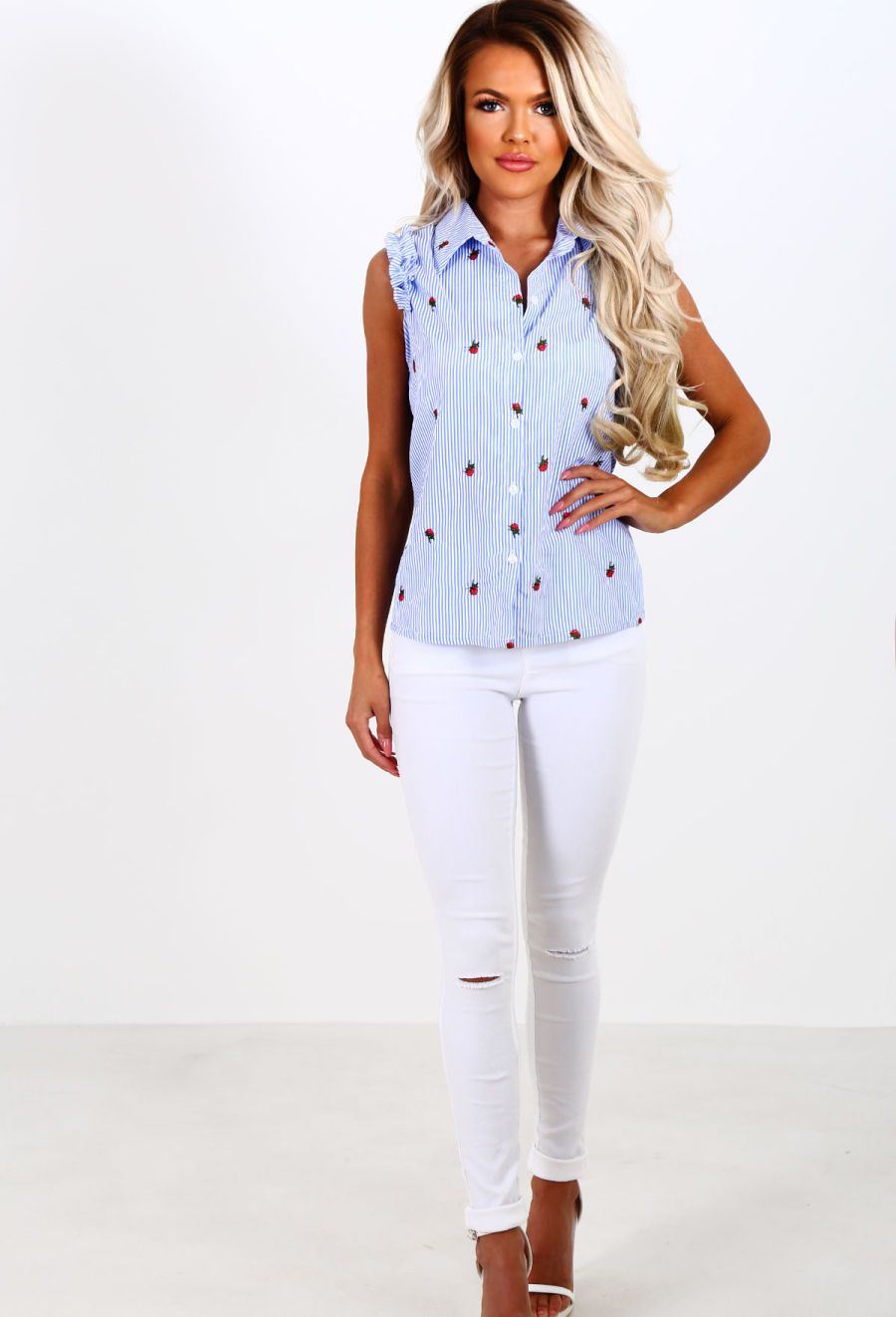 Crazy for you blue and white stripe floral frill shirt blue and