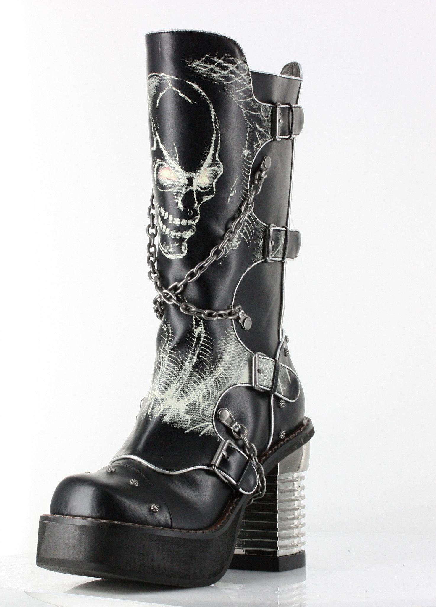 "db54452691a Black PU knee high punk boots w  crisscrossed biker chains. 3.5″ chunky  steampunk heel w  adjustable side buckle   inner zipper. Skull   bone ""glow  in dark"" ..."